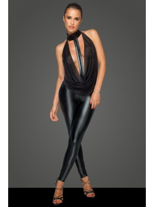 Noir Handmade: Tuta in tessuto wetlook con top in tulle F223