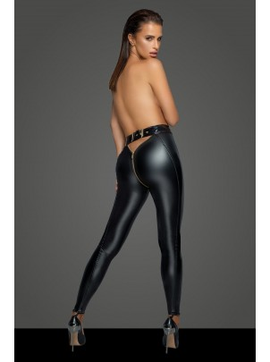 Noir Handmade: Leggings in tessuto wetlook con zip F217