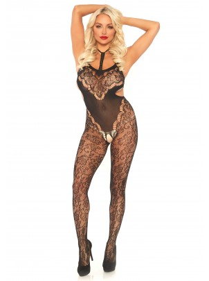 Leg Avenue Lingerie: bodystocking in pizzo floreale aperta all'inguine